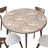"""SfeatrutMAT Elastic Edged Polyester Fitted Table Cover,Hand Drawn Teddy Bear Pattern Vector,Fits up 40""""-44"""" Diameter Tables,The Ultimate Protection for Your Table"""