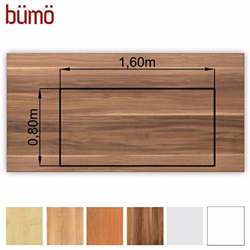 Bümö® stabile Tischplatte 2,5 cm stark - DIY Schreibtischplatte aus Holz | Bürotischplatte belastbar mit 120 kg | Spanholzplatte in vielen Formen & Dekoren| Platte für Büro, Tisch & mehr (Rechteck: 160 x 80 cm, Zwetschge)