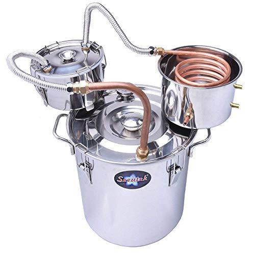 Suteck 5 Gal Moonshine Still Spirits Kit 18L Water Alcohol Distiller Copper Tube Boiler Home Brewing Kit with Thumper Keg Stainless Steel
