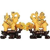 WQQLQX Statue Elephant Dekoration günstiges Handwerk, langlebiger Harz, zum Eingang des Weinschrank Wohnzimmers genutzt.Farbe: Gold, Größe: 44 * 22 * 48cm Skulpturen