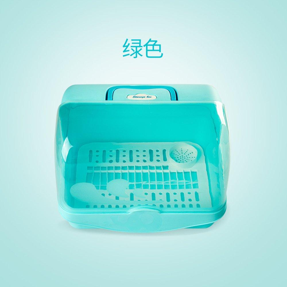 添好时代可手提婴儿奶瓶收纳箱 宝宝餐具用品收纳箱防尘干燥架 便携奶粉储存箱 新生儿奶瓶沥水晾干盒(大容量可储存奶粉米粉盒)