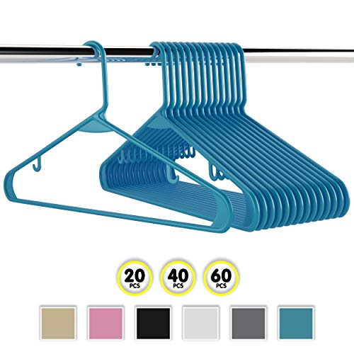NEATERIZE Plastic Clothes Hangers| Heavy Duty Durable Coat and Clothes Hangers | Vibrant Colors Adult Hangers | Lightweight Space Saving Laundry Hangers | 20, 40, 60 Available (60 Pack - Blue)