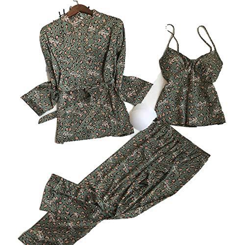 Hopereo Conjunto de 3 pijamas para mujer de seda emulación,...