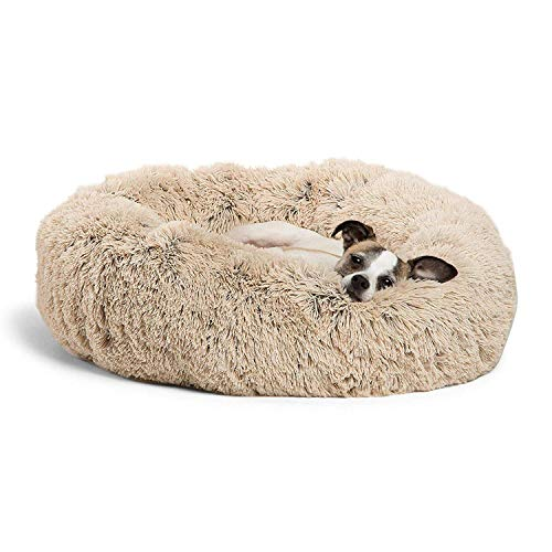 HANHAN Round Pet bed, Calming Bed Plush Nest Warm Soft Cushion Donut Cuddler Cat Dog Puppy Comfortable Pillow for Sleeping Winter (100cm, Beige)