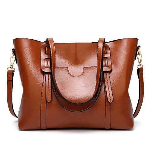 Damen Handtasche aus Ölleder, braun (Braun) - aso-1360