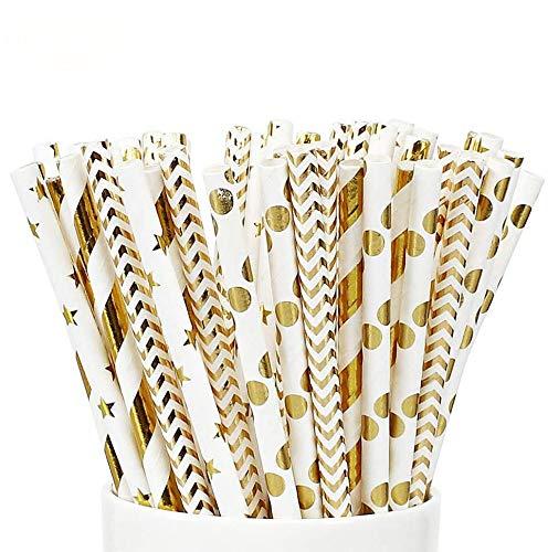 Queta 100Pcs Paille en Papier Pailles de Papier Biodégradables Décoratives Mariages Naissances Fêtes Boisson Pailles (4 Motifs)