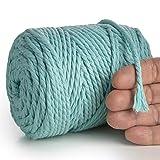 MeriWoolArt Cuerda de macramé 4 mm – 75 m, fuerte algodón reciclado y viscosa, para punto, ganchillo, macramé, bolso de mano, macramé, atrapasueños (Aqua, 4 mm x 75 m)