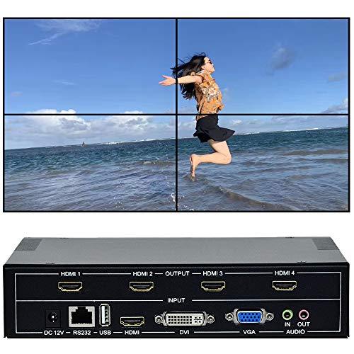 ESZYM Video Wall Controller 2x2 TV Wall Controller   1080p, HDMI 1.4, HDCP1.4 Compliant   HDMI DVI USB VGA Inputs; HDMI Outputs   Display Modes 2x2, 1x2, 1x3, 2x1, 3x1,Cascading max 4x5