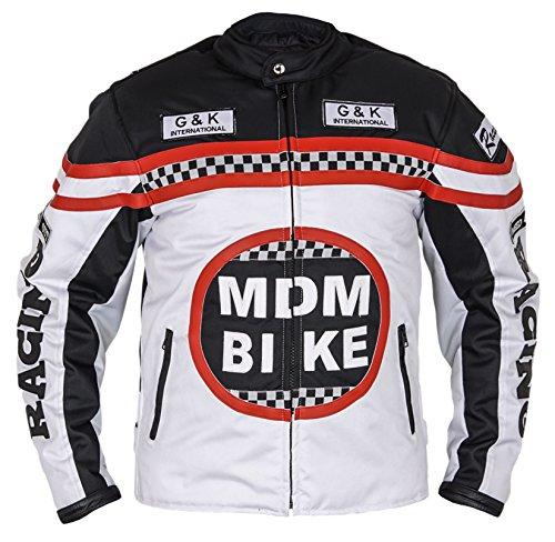 MDM Textil Motorradjacke (2XL, weiß/schwarz)