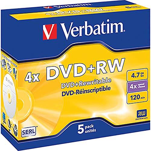 Verbatim 43229 - 5 DVD+RW Matt Silver 4x, 4.7GB