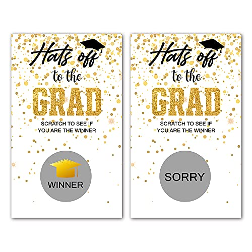 """50 Graduation Party Scratch Off Cards, 2"""" x 3.5"""", High School or College Graduation Party Games Activities Invitations, Funny Grad Party Game Cards, Graduation Party Game Supplies Cards"""