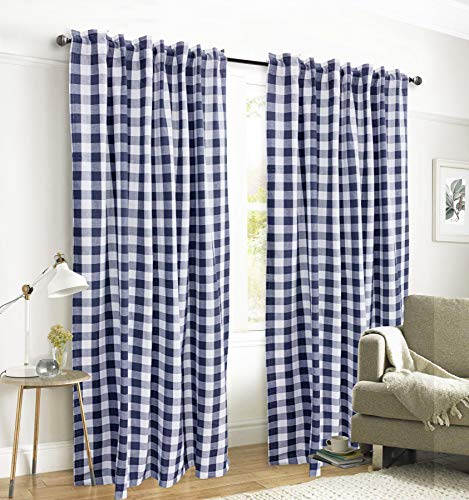 Gingham Check Window Curtain Panel, 100% Cotton, Navy/White, Cotton Curtains, 2 Panels Curtain, Tab Top Curtains, 50x84 Inches, Set of 2