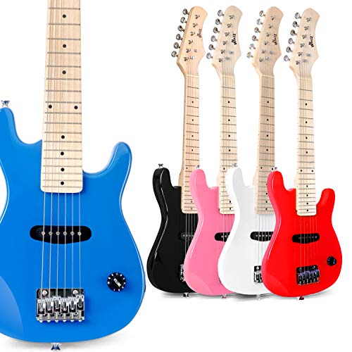 WINZZ 30 Inches Real Kids Electric Guitar with Beginner Kit, Blue