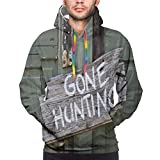 ZMYGH Men's Hoodies Sweatshirts,Gone Hunting Written on Wooden Board Old Worn Out Cottage Door Seasonal Hobby Fun,Small