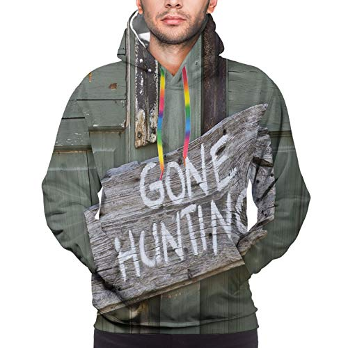 Men's Hoodies Sweatshirts,Gone Hunting Written On Wooden Board Old Worn Out Cottage Door Seasonal Hobby Fun,X-Large