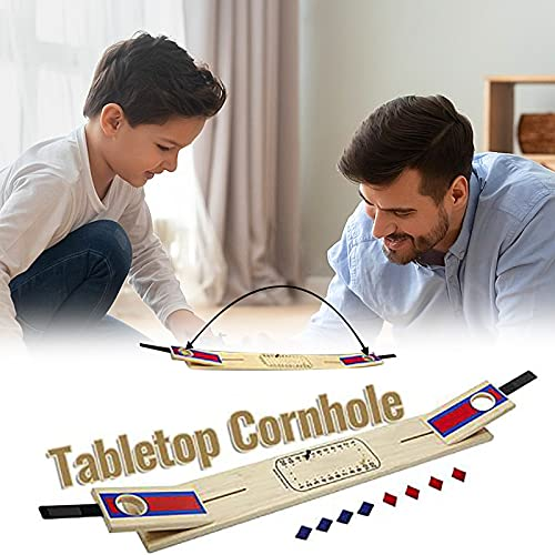 Tabletop Classic Cornhole Set with Scorer - Includes 8 Bean Bags, Collapsible Portable Wooden Cornhole Game Boards, Indoor Outdoor Toss Game for Kids Adults Family
