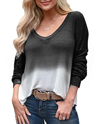 YOINS Mujer Suéter Manga Larga Pullover Gradiente Jersey con Cuello En V Suéter Camiseta Deportiva Casual Top Primavera Y Verano Negro XXL