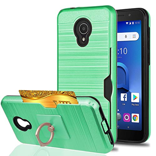 YmhxcY for Alcatel IdealXtra Case,Alcatel 1X Evolve,Alcatel TCL LX Cases with Phone Stand,[Credit Card Slots Holder][Brushed Texture] Dual Layer Protective Cover for Alcatel 5059R-LCK Mint