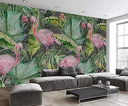 Papel tapiz de coco con flamenco de hoja de planta para dormitorio, sala de estar, decoración de pared, Mural Pared Pintado Papel tapiz 3D dormitorio de estar sala sofá mural-430cm×300cm