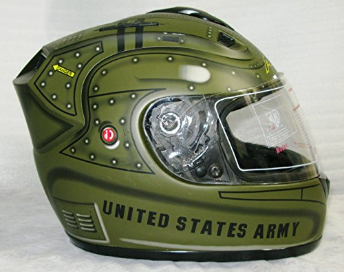 XL APACHE Motorcycle Helmet with Built In LED Lights! United States ARMY!