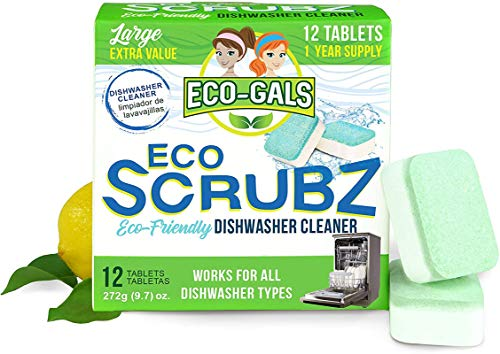 Eco-Gals Eco Scrubz Deep Dishwasher Machine Cleaner Unscented, 12 Count Tablets - 1 Year Supply