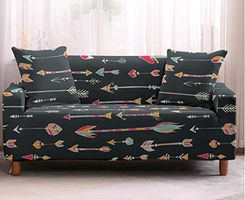 Funda Elástica de Sofá de 3 Plazas Patrón de Flecha Gris Funda sofá (Regalar 2 Funda de Cojines) Funda para Sofá Funda de sofá de Sillón Antideslizante Protector Cubierta de Muebles