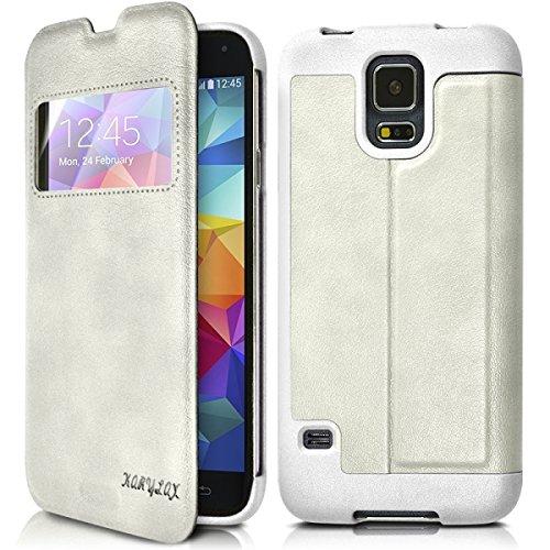 Seluxion - Funda rígida con tapa para Samsung Galaxy S5 (incluye protector de pantalla), color blanco