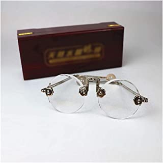 Unisex - Round Retro Eyelasses, Natural Crystal Lens 54MM. Eyeglasses (Color : Clear)