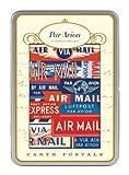 Cavallini Par Avion Carte Postale, 18 Postcards per Tin