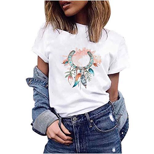 Las Camisetas De Mujer, Cuellos Redondos, Mangas Cortas, Estampado De AtrapasueñOs, Tops...