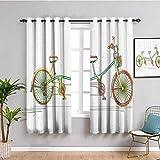 Tende decorative per camera da letto colorate Tandem design bicicletta su sfondo bianco modello Clipart stile stampa Cafe tenda multicolore, larghezza 42 x lunghezza 63 cm