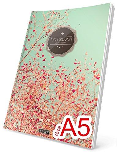"""TULPE Punktraster Notizbuch: Ca. A5 """"C032 Frühlingstraum"""" (Vintage Softcover, Register, Punktkariertes Papier - Bullet Journal, Notizheft, Skizzenbuch, Tagebuch, Gepunktete Seiten, Dot Grid Notebook)"""