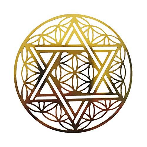 wave the stone フラワーオブライフx六芒星(ダビデの星)(8x8cm) ヘキサグラム (hexagram)ヒーリング プレート カード 浄化 金属製 古代神聖幾何学 エナジーパワー