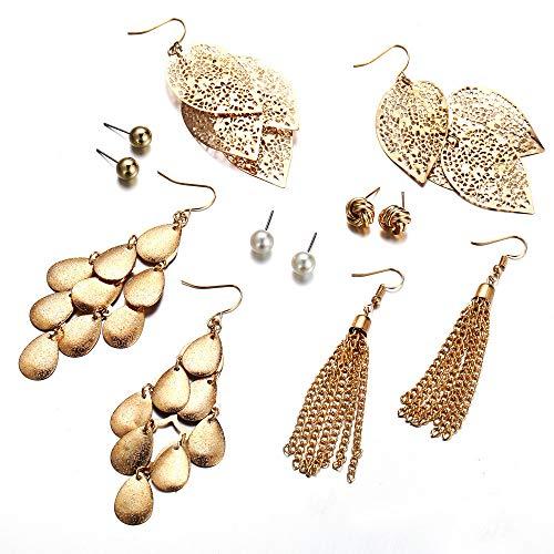 Liqiqi Pendientes Colgantes para Mujer, Bohemian, Largos, con Hojas de Oro, Varias Capas, con Perla, para Disfraz de Mujer