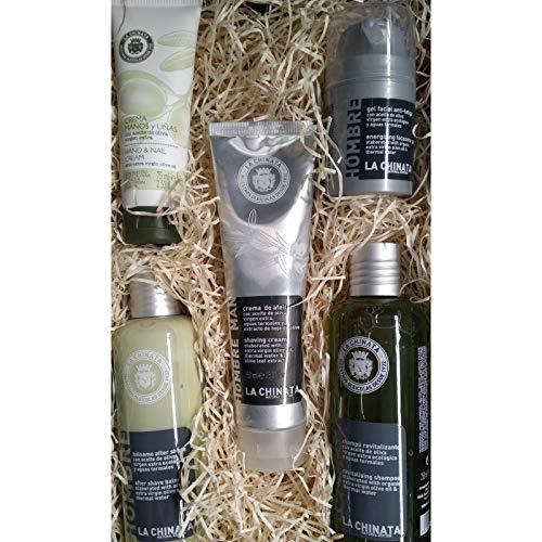 Lote de cosméticos naturales para hombres con desodorante, crema afeitado, gel facial, aftershave y champú en caja para regalar