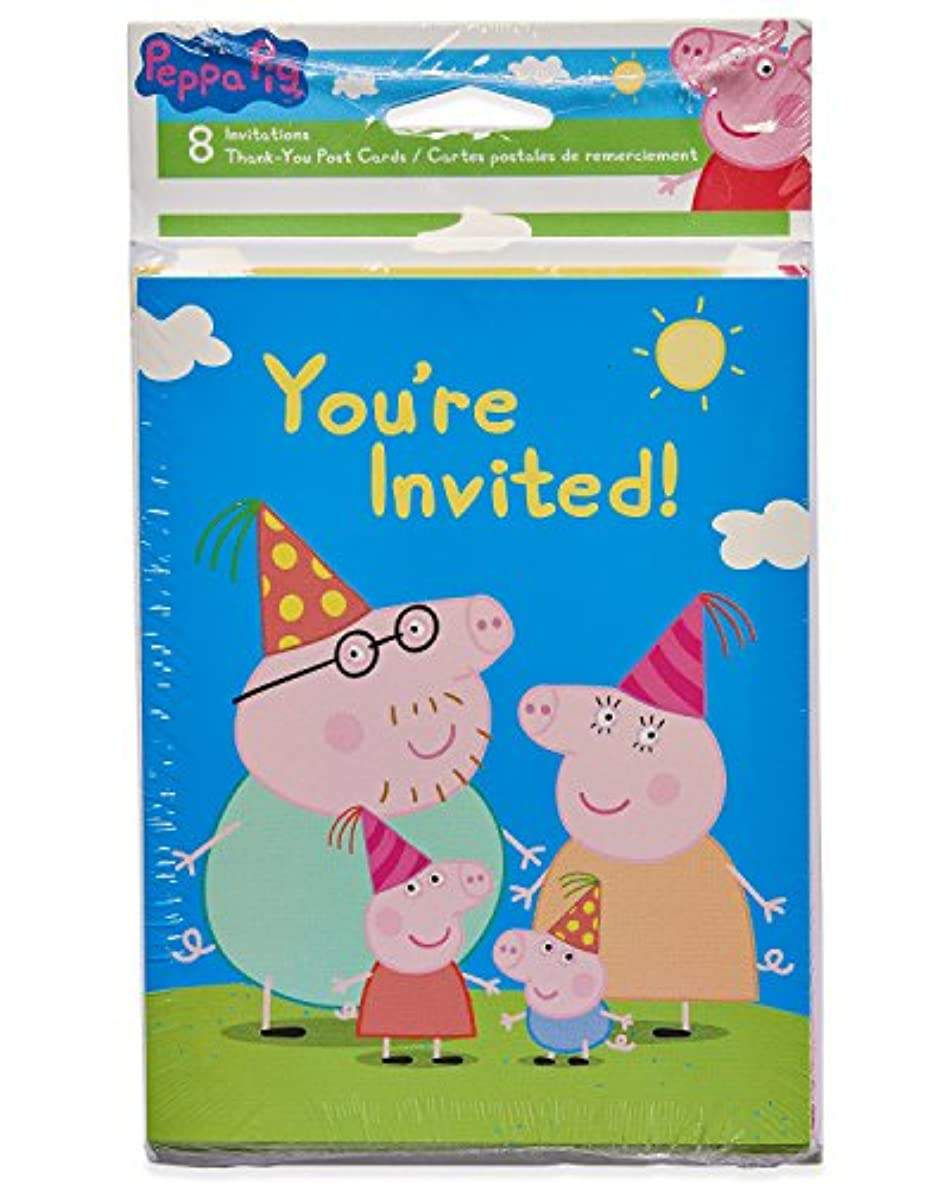 American Greetings Girls Peppa Pig Invite and Thank-You Combo Pack, 8-Count