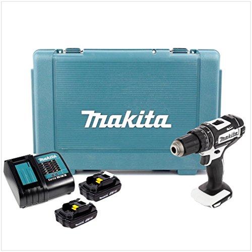 Makita DHP 482W bianco 18V agli ioni di litio trapano avvitatore a percussione in valigetta + 2X bl1815N 1,5AH batteria + caricatore DC 18SD