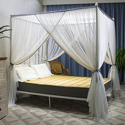 WENZH Muggennet 3-deurs muggennetten vet beugel vierkant top versleuteling muggennetto huishouding dubbele persoon muggennetto 1,2 M 1,5 M / 1,8 M 2.0 M bed