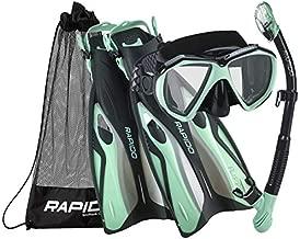 Phantom Aquatics Rapido Boutique Collection Otimo Duo Tempered Lens Mask Fin Snorkeling Set with Snorkel Gear Carry Bag, MT-SM