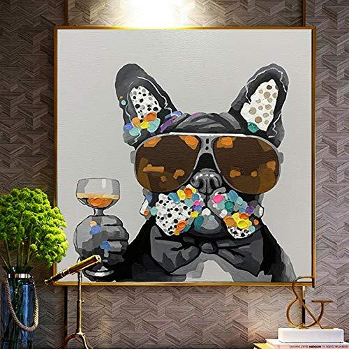 Graffiti Perro moderno con gafas de sol Pintura en lienzo Carteles e impresiones Arte de pared nórdico Cuadros para sala de estar Decoración del hogar 30x30cm Sin marco