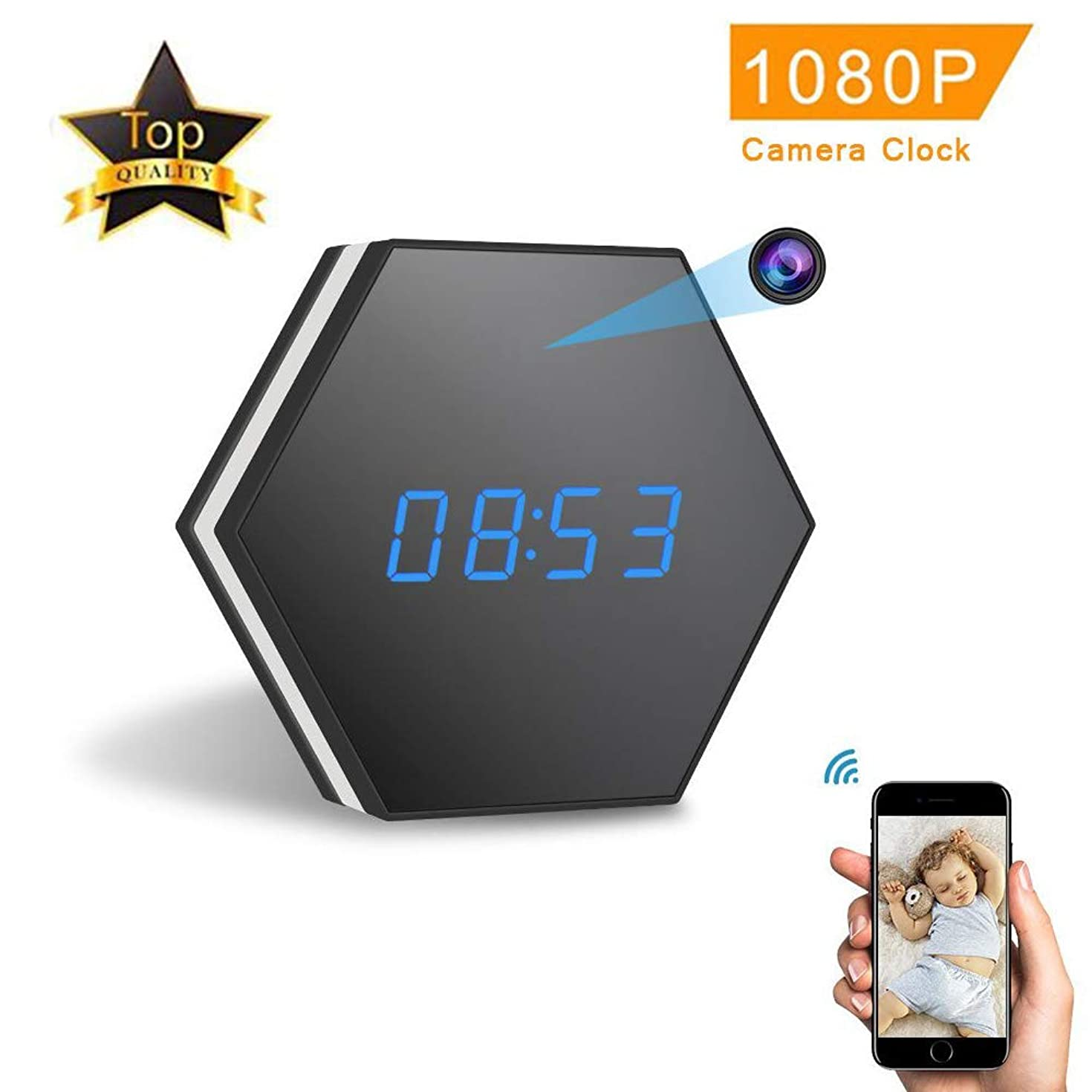 HUAXING Mini WiFi Hidden Camera, Smart Mirror Clock IP Night Vision Two-Way Audio Motion Video Recording/Remote Monitoring with iOS/Android App,NOTFCard