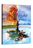 AGCary Four Season Tree of Life Poster with Framed Print Canvas Painting Picture Wall Art for Home Decorations Wall Decor 12 x 16