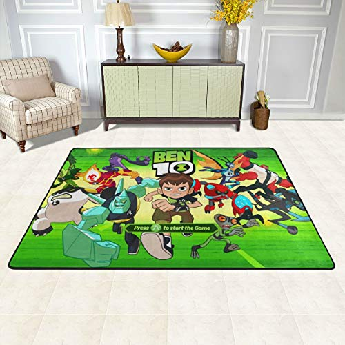 Best Anti-Skid Area Rug 36x24 Inch, Ben 10 Omniverse Start The Game Poster Mat Carpet Washable, Super Thick Chair Mat for Car Outdoor Boys Room