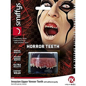 Smiffys Unisex Horror Invasion Zähne mit Fixierung und Anleitung, One Size, 45184