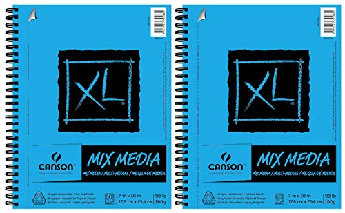 Canson XL Series Mix Media Paper Pad, Heavyweight, Fine Texture, Heavy Sizing for Wet and Dry Media, Side Wire Bound, 98 Pound, 7 x 10 Inch, 60 Sheets - 100510926 (7' x 10' 2 Pack)