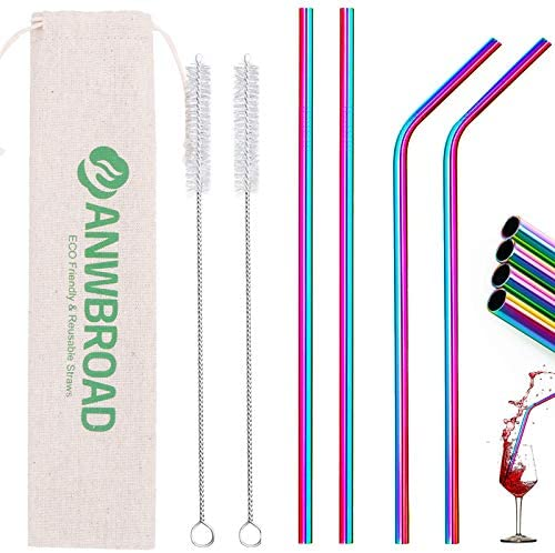 ANWBROAD Metal Straws Stainless Steel Straws 4 2 Set 10 5 Drinking Straws Reusable Straws Thickened product image