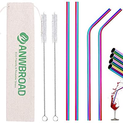 ANWBROAD Metal Straws Stainless Steel Straws 4+...