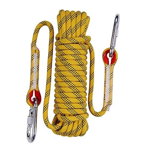 QIANGSHENG 多目的ロープ 太さ: 10mm 長さ: 50m 耐荷重1000�s 収納袋セット アウトドア キャンプ 防災 (イエロー 50m)