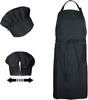 NLooking Plus Size Chef Hat and Apron for Adults,Adjustable Long Tied Front Kitchen Bib Apron with Pockets for Man and Women, Elastic Bakers Hat and Apron Set for Chef Costume,Bakers Costume,Butcher