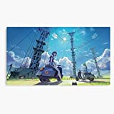 Manga Pole Girls Scooter Japan Girl Electric Anime Landscape Canvas Printed Trendy Artwork for Wall Decor